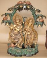 China Antique Bronze finish Metal statue of Radha-Krishna under a treeItem Code on sale