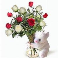 Quality Bear w/ Red & White Roses NO.27 taipei flower delivery for sale