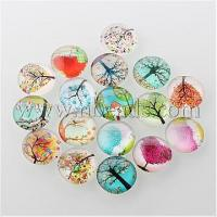 Tree of Life Printed Half Round/Dome Glass Cabochons, Mixed ...(X-GGLA-A002-15mm-GG)