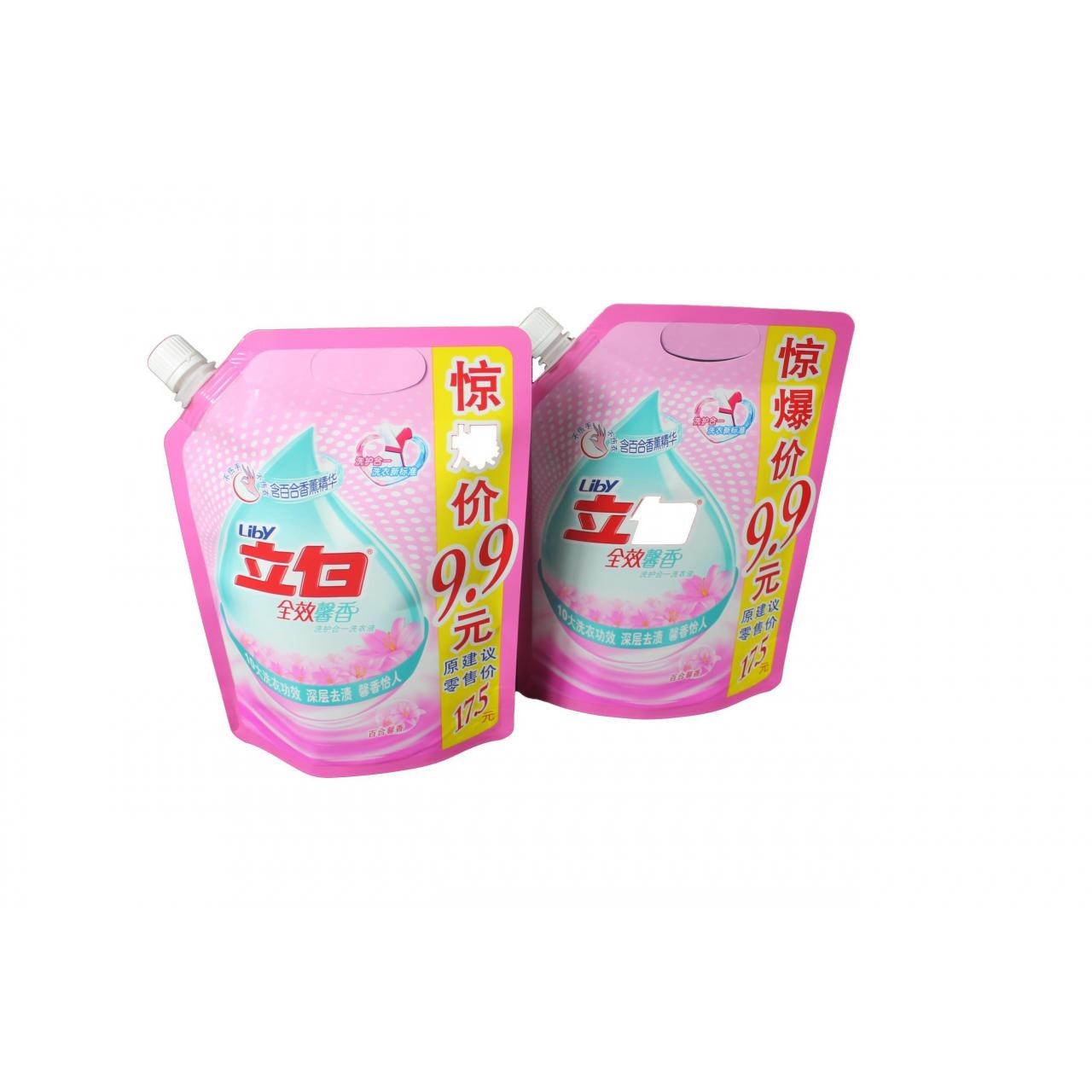 China 900g detergent or washing liquid packaging pouch with spout and handle wholesale
