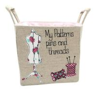 Quality Personalised Linen Storage Basket for Sewing and Crafts for sale