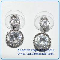 China Hot sales brass earrings white gold plated with AAA CZ on sale
