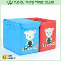 Quality Cute cartoon foldable Non Woven fabric toy kids storage box for sale