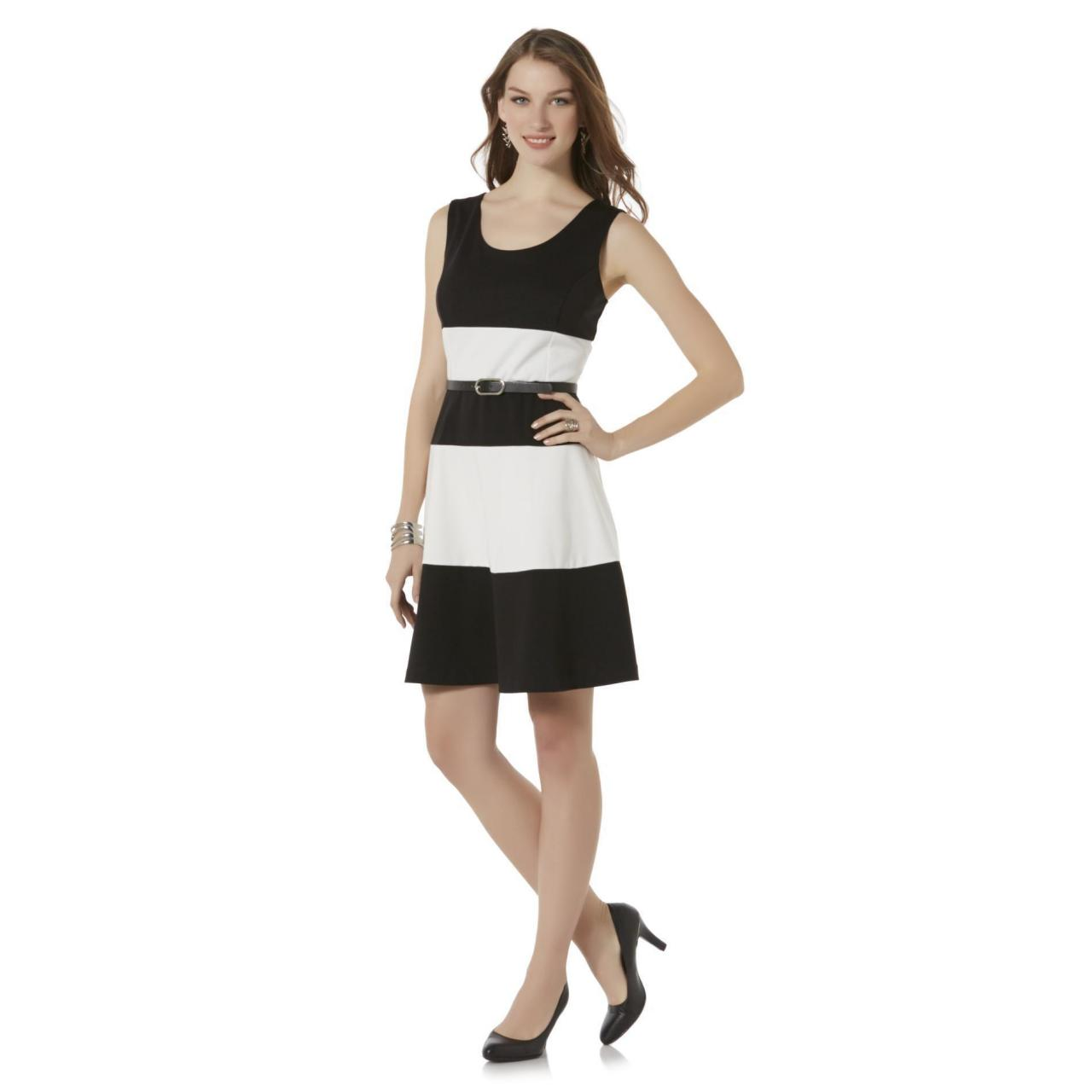Quality Covington Women's Sleeveless Belted Dress - Striped for sale