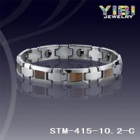 Faceted Links Tungsten Carbide Bracelets Genuine Wood Inlay With Magnet Inside STM-415-10.2-C