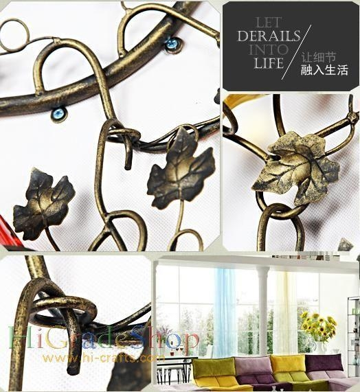 China Wall-mounted Iron Wine Rack Wall-hanging Style design Home decoration Metal craft
