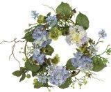 Christmas Garlands Nearly Natural 4642-BL Hydrangea Wreath, 15-Inch, Blue/Purple