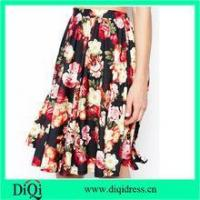 women fashion midi skirts in chiffon floral rose prints