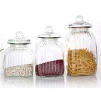Quality Glass food kitchen storage container/ jar/bottle/ with glass lid sealed for sale