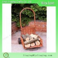 Wholesale Folding Wicker Trolley for Transporting Wood Logs with two wheels