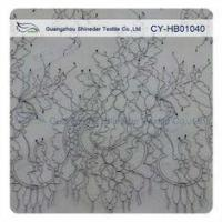 Quality Thin Soft Charming Chantilly Floral Bridal Lace , Nylon Scallop Wedding Dress Lace for sale
