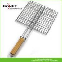 Quality QGN0112 Cheap BBQ Grill Net With Wooden Handle for sale