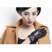Classic Women Ladies Winter Leather Gloves With Embroidery Belt Cuff Elastic Wrist for sale