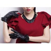 Flower Decoration Women Genuine Leather Gloves Elegant Style with 3 Color for sale