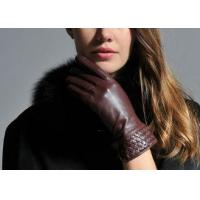 Brown Women Warm Winter Genuine Leather Gloves With Leather Silk Cuff Elastic Wrist for sale