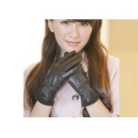 Lace Lady's Black Sheep Lambskin Genuine Leather Gloves With Viscose / Microsofe Pile Lining for sale