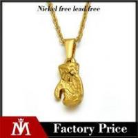 China 2016 Vintage PVD gold plated stainless steel gloves pendant necklace unisex jewelry on sale