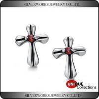 Quality Men's Gothic Punk Thai Silver Cross Shapen CZ Silver Stud Earring With Zricon for sale