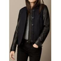 Leather Jacket Women Wool Blend Bomber Jacket With Lambskin Sleeves for sale