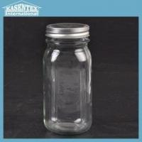Glass Mason jar with decal and lid jam jar