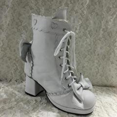 Buy Lolita Long Coats Antaina Sweet White Real Cow Leather Lolita Heels Boots at wholesale prices