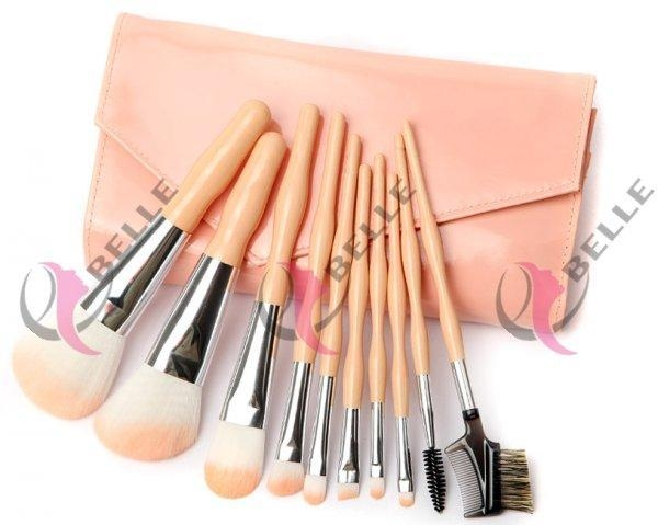 Buy TB-10-28 Synthetic Hair 10pcs makeup brush set with case peach at wholesale prices