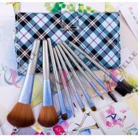 Quality TB-10-50 Synthetic Hair 10pcs makeup brush set with blue plaid case for sale