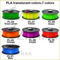 1.75/3.0mm 7 transparent PLA filaments