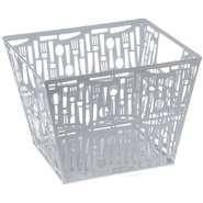 "Quality Cutlery Punched Metal Large Storage Basket White 10 3/8""L x 10 1/4""W x 6 1/4""H for sale"