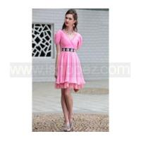 Quality Drape Shoulder V Neck pink short prom dress for sale