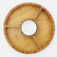 China Bamboo Wood Kitchen Bamboo chip and dip tray with ceramic tray on sale