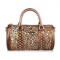 Quality Cowhide Leather Leopard Studs Rolling Bag for sale