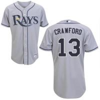 Tampa Bay Rays #13 Carl Crawford Authentic Grey Road Man MLB Jersey
