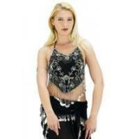 Quality BELLY DANCE COSTUMES Belly Dance Coins Top (Black) for sale