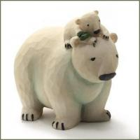 Quality Blossom Bucket POLAR BEAR and CUB with Pine Bough Figurine for sale