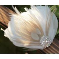 Quality KISSPAT Bridal Fascinator Clip,Wedding Headpieces,Feather Accessory with White Dimaond Jewel for sale