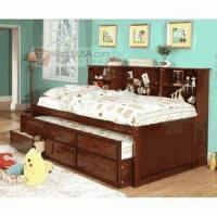 Quality Hardin Cherry Bookcase Twin Captain Bed with Twin Trundle Drawer for sale