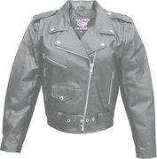 Buy Ladies Basic Classic Cowhide Motorcycle Jacket - Sizes XS to 5XL at wholesale prices