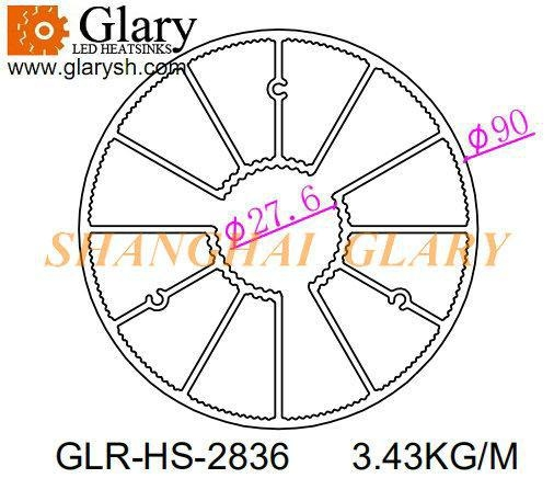 China GLR-HS-2836 90mm round aluminum extrusion profile heatsink