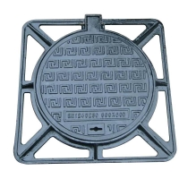 Buy cheap Ductile iron outer square and inner round manhole cover from wholesalers