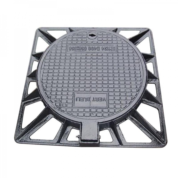 China Ductile iron outer square and inner round manhole cover