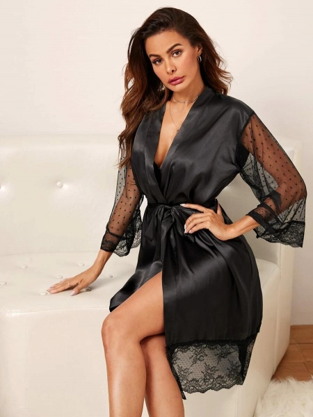 China Contrast Dobby Mesh Belted Satin Robe