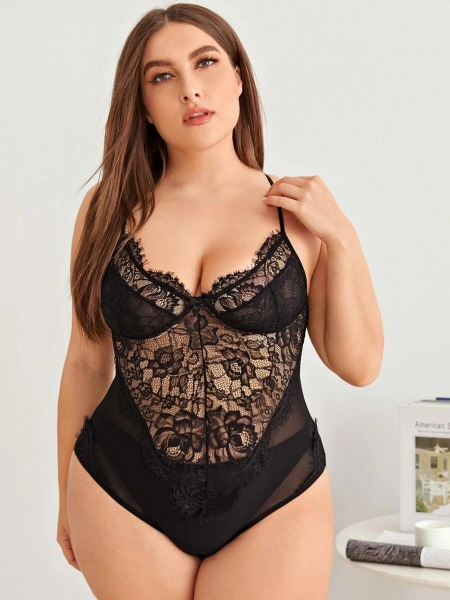 China Plus Floral Lace Mesh Teddy Bodysuit
