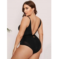 Buy cheap Plus Contrast Mesh Teddy Bodysuit from wholesalers