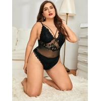 Buy cheap Plus Floral Lace Mesh Teddy Bodysuit from wholesalers