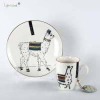 Quality Alpaca family Porcelain cups used drinking water coffee mugs tea cup and ceramic plates for sale