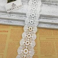 China Golden Knit 5cm Embroidery Double Scalloped Lace Trim HXP004# on sale