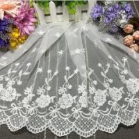 China 35cm Width DIY Cotton Voile Embroidery Hot Sale Guangzhou Lace Trim XZ017# on sale