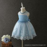 China hot summer special washable beautiful dresses wave skirt tail sky color graceful garment on sale