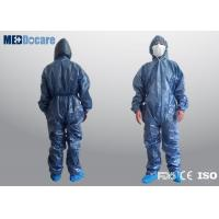 Quality Disposable PPE coveralls dark blue non woven material one time use fluid proof for sale
